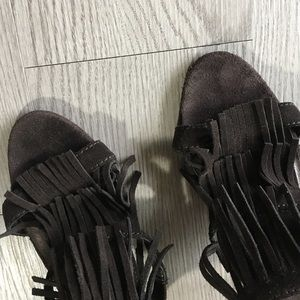 Mossimo Supply Co. Shoes - FRINGE TASSELS HEELS SANDAL STRAPPY OPEN TOE BROWN